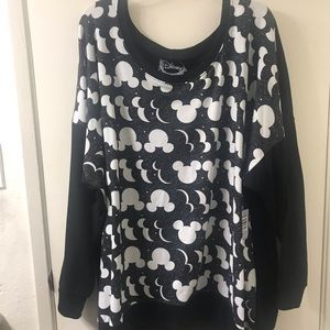 Black and White Mickey Mouse Scoop Neck Sweater